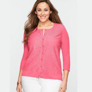 Talbots, Circle Lace Front Cardigan, Pink, 1X